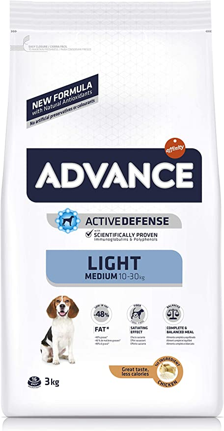 Oferta amazon: Advance Light Pienso para Perros Medium Adult - 3000 gr