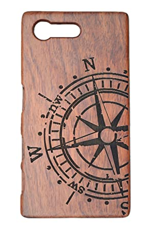 best sneakers d3e4d d74cf PhantomSky Wooden Phone Case Compatible for Sony Xperia X Compact -  Rosewood Compass