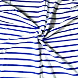 Fabric by The Yard Cotton Spandex Blue and White Stripes Single Jersey Knit Fabric Yarn Dyed 4 Ways Stretch for T Shirt…