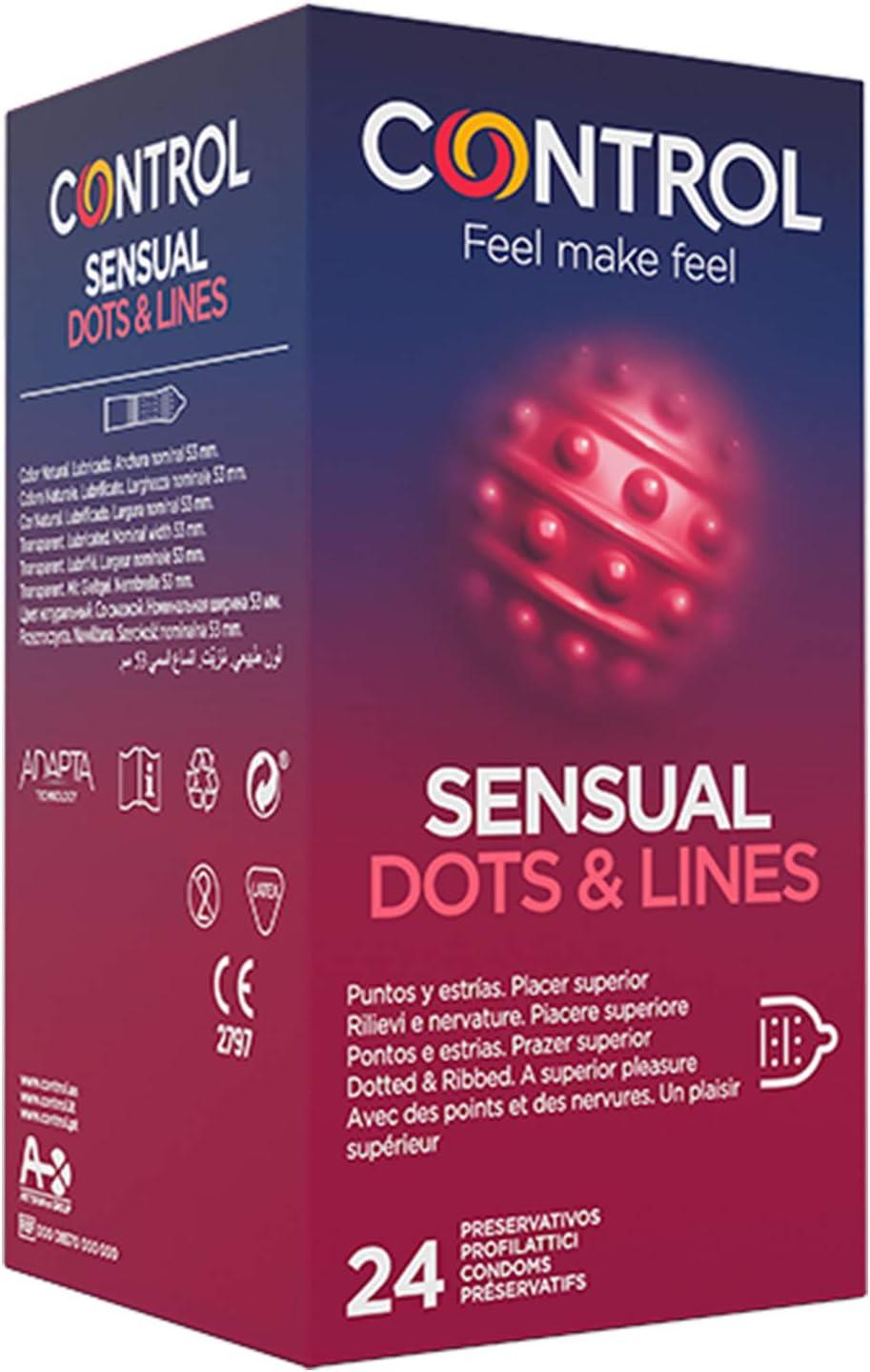 Control Sensual Dot&lines Preservativos - Caja de Condones con Puntos y Estrías, 24 Unidades (Pack Ahorro)
