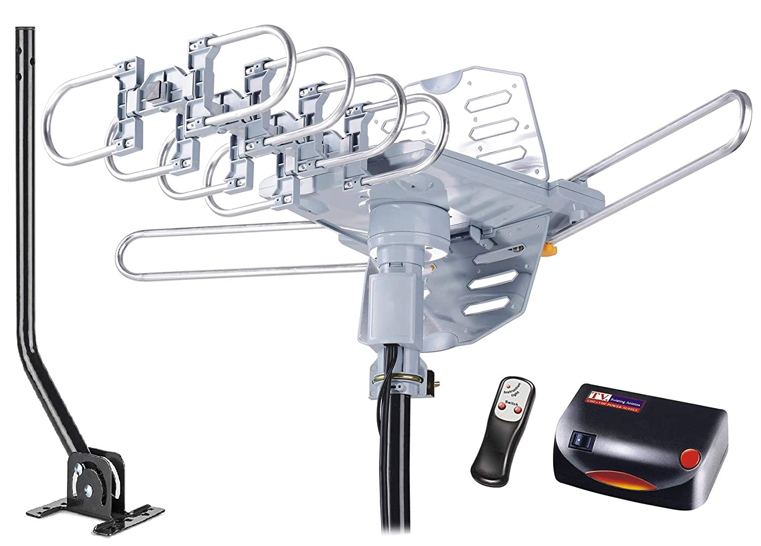 Mcduory Hdtv Antenna Amplified Digital Outdoor Ac Home Wiring 150 Miles Range With Mounting Pole 360 Degree Rotation Wireless Remote Tools Free