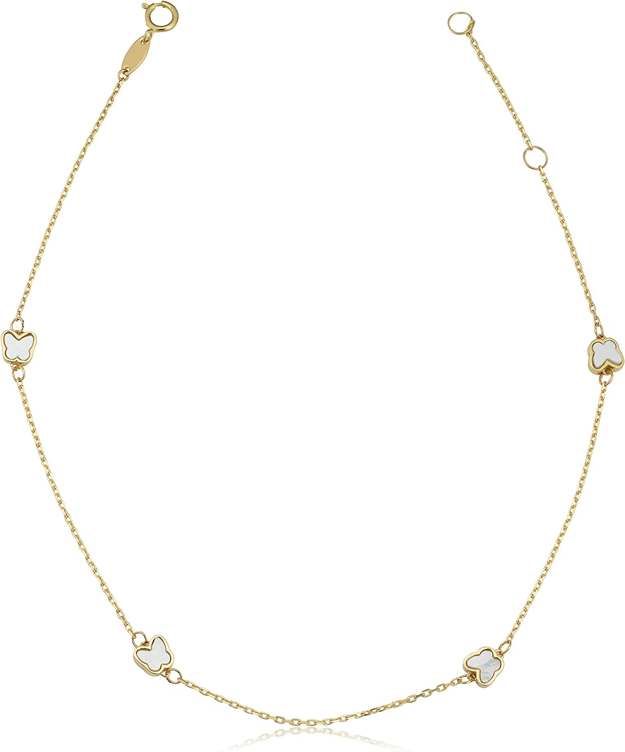 14K Yellow Gold Diamond Cut Beads Stations Anklet Adjustable 9 to 10 length