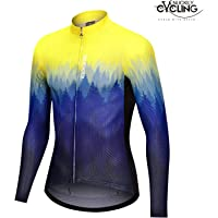 NUCKILY New Men's Full Zip Moisture Wicking Manga Larga Ciclismo Jersey Tops Transpirables - Camisa de Ciclismo en Bicicleta