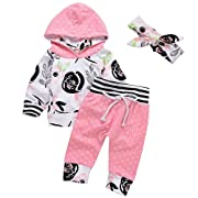 Arleysh 3Pcs Baby Girls Clothing Outfits Hoodie Tops+Sweatsuit Pants+Headband (0-6 Months)