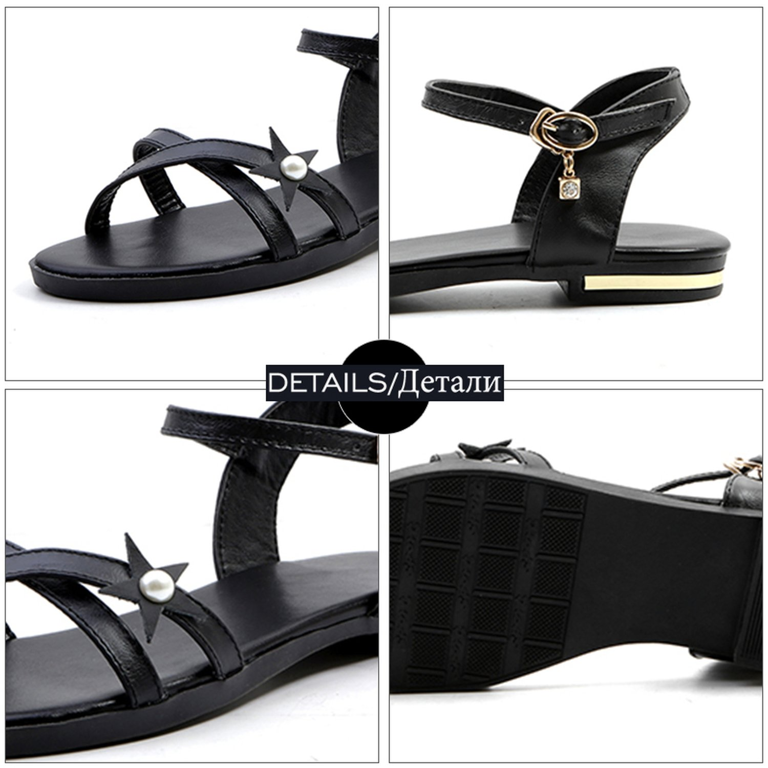 Summer Ankle Strap Open Toe Leather Flat Sole Crystal Pearl Footwear 2018 Girl Shoes