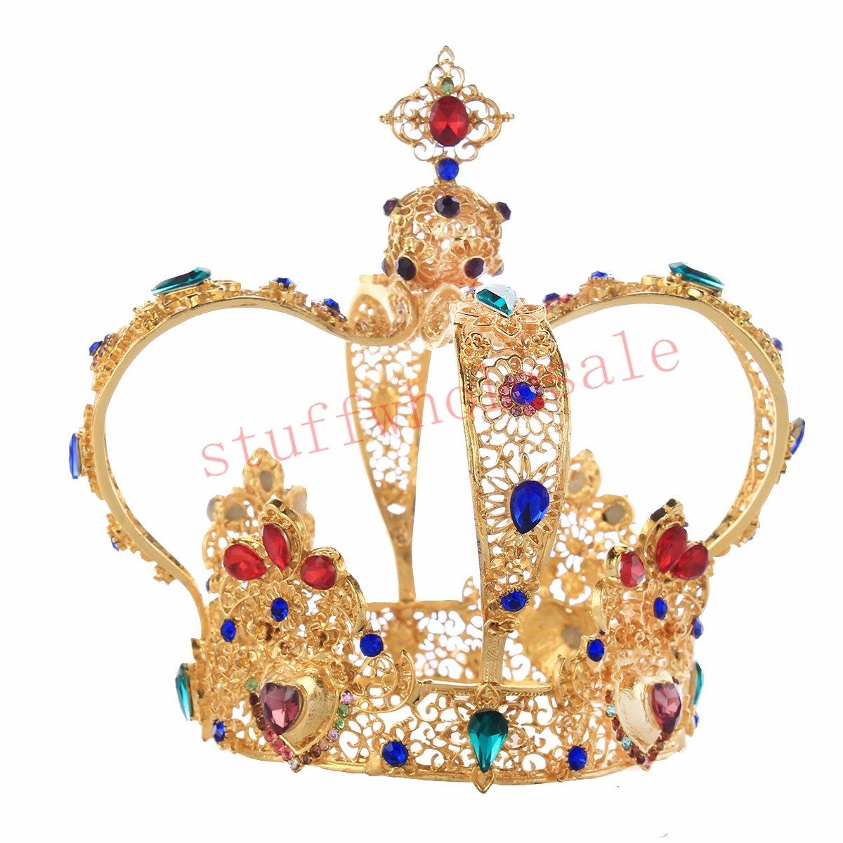 Stuffwholesale 5.5inch Gold Queen Tiara Mini Bun Tiara Wedding Party Crown