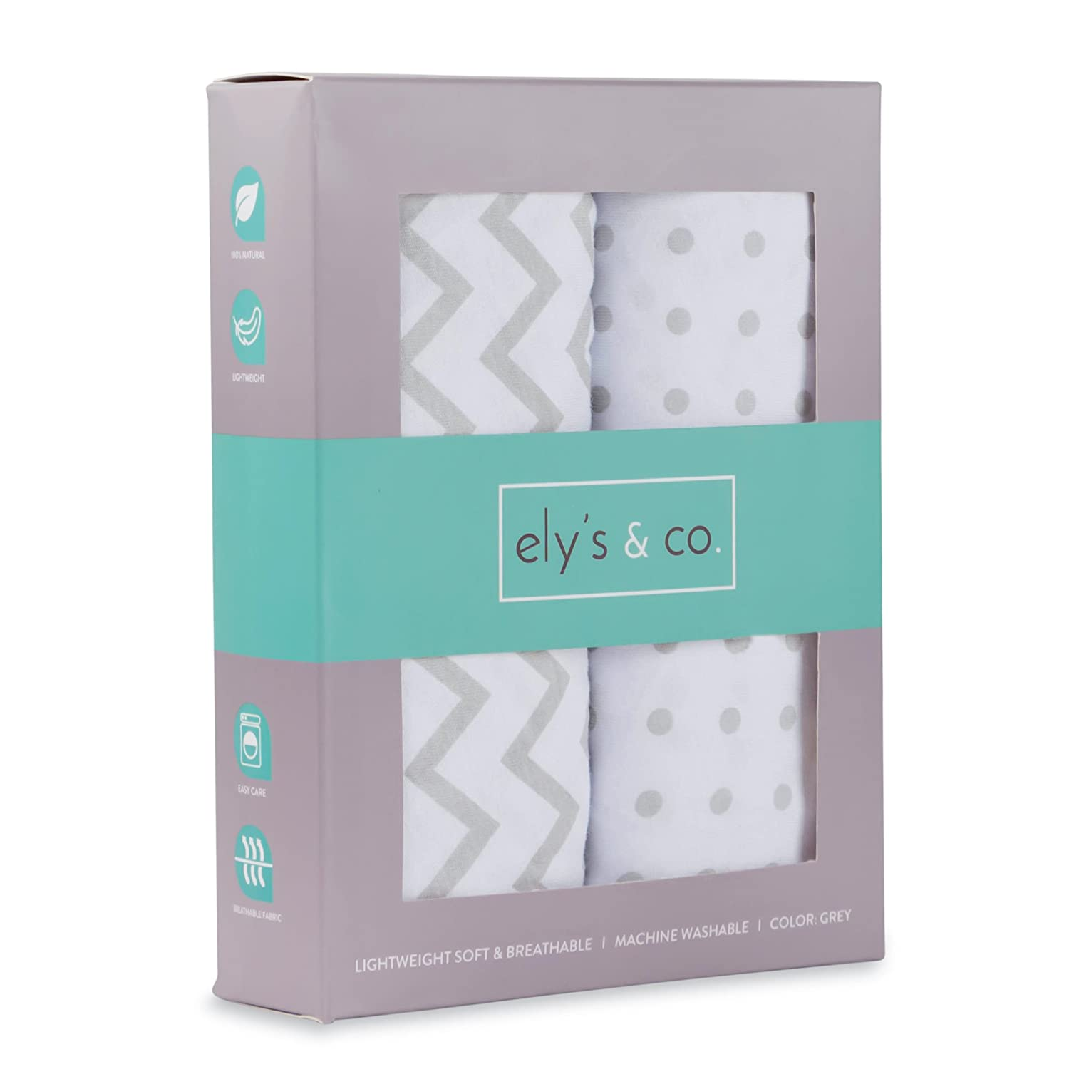 Crib Sheet Set 2 Pack 100% Jersey Cotton for Baby Girl and Baby Boy by Ely's & Co. - Grey Chevron and Polka Dot by Ely's & Co. Ely's & Co