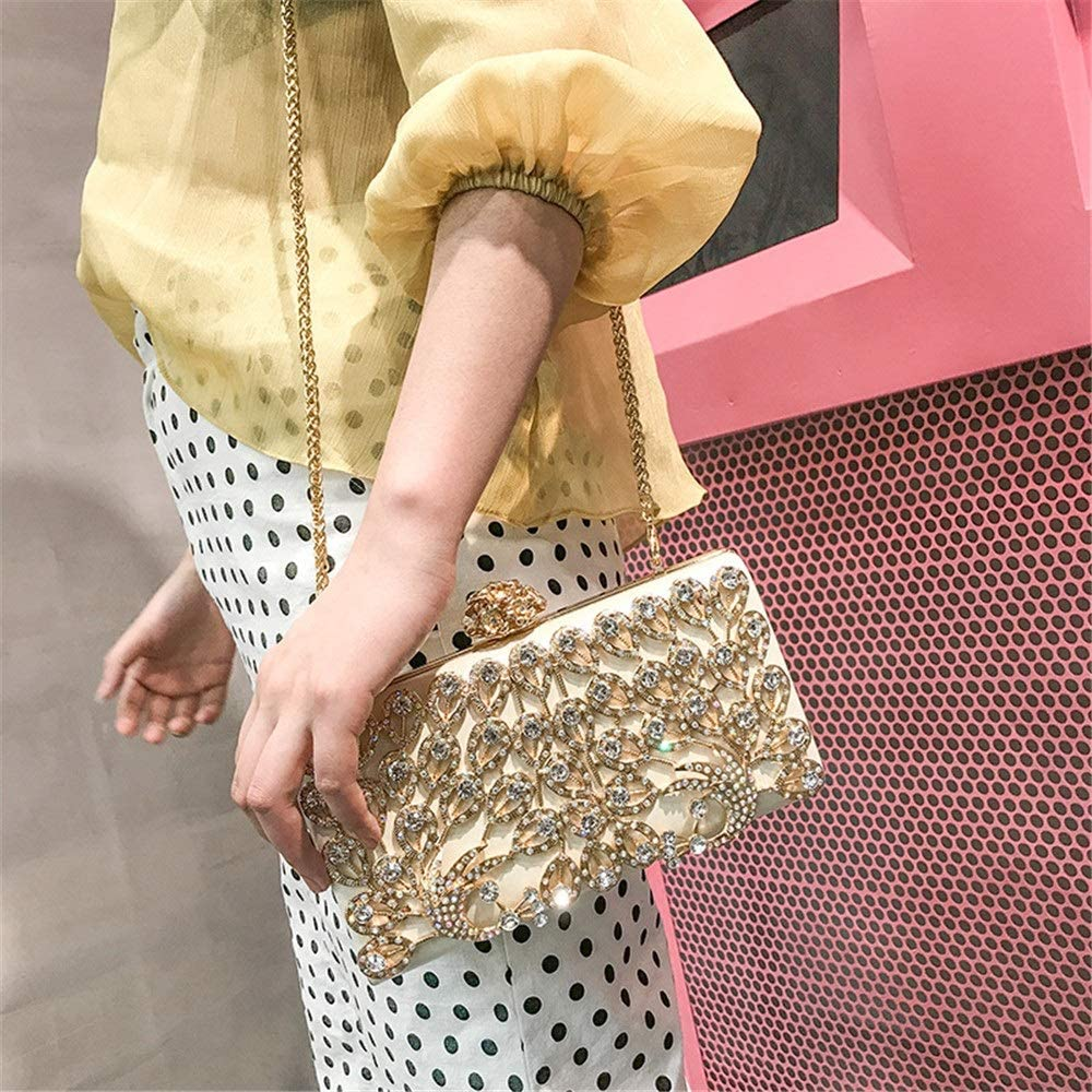 Jtoony Womens Evening Clutch Bag Women Party Dress Rhinestone Hand Bag Crystal Cluth Purse Banquet Cosmetic Bag Casual Shoulder Bag Clutches Bags (Color : Gold) White