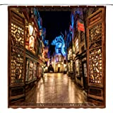 City Night Scene Magic World Harry Potter Fantasy Street Road Diagonal Alley with Window Decor Home Shower Curtain,70x70 Inch Waterproof Polyester Fabric Bathroom Accessories Curtains with Hooks