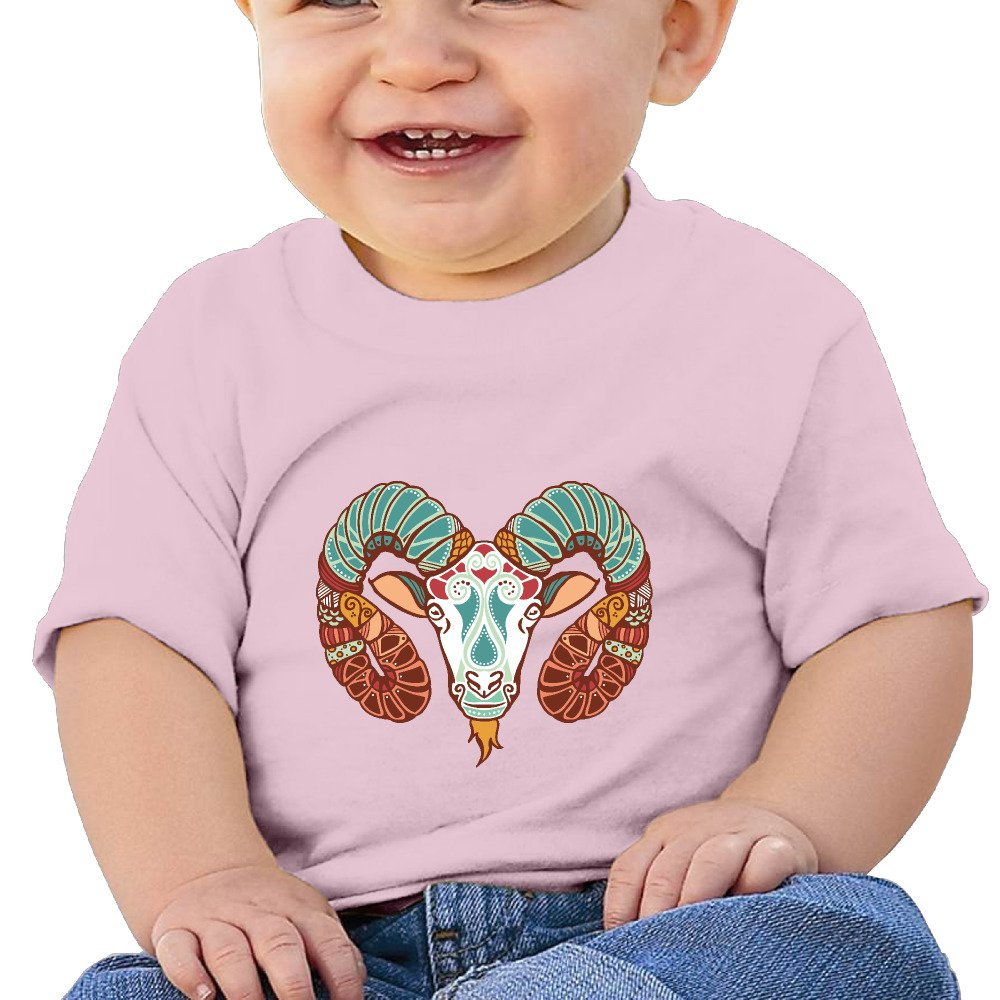 Constellation Zodiac Aries Sign Infants and Toddlers T Shirts Boys Girls Short Sleeves 6-24 Months