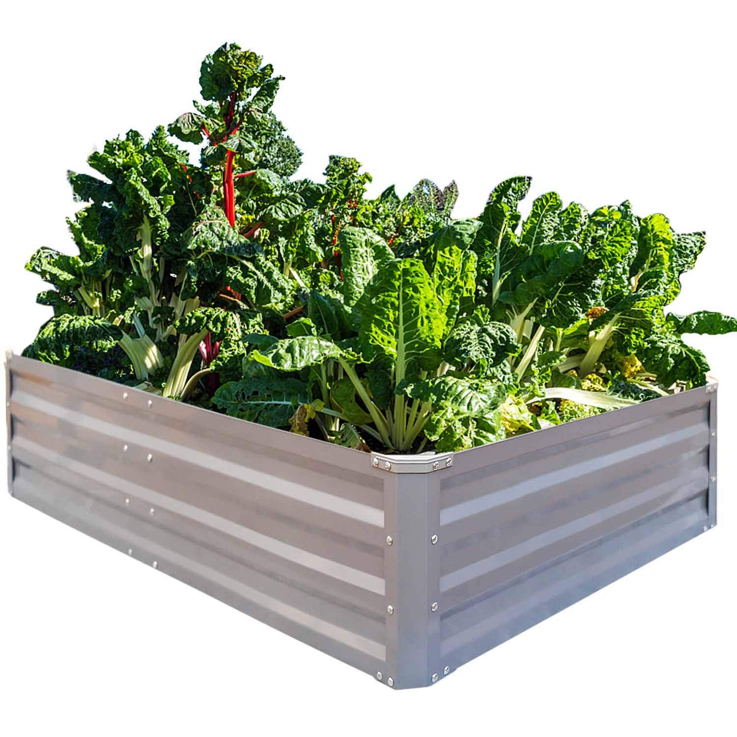 Foyuee Galvanized Raised Garden Beds For Vegetables Metal Planter Boxes Outdoor Large Patio Bed Kit Planting Herb 4 X 3 X 1ft Amazon In Garden Outdoors