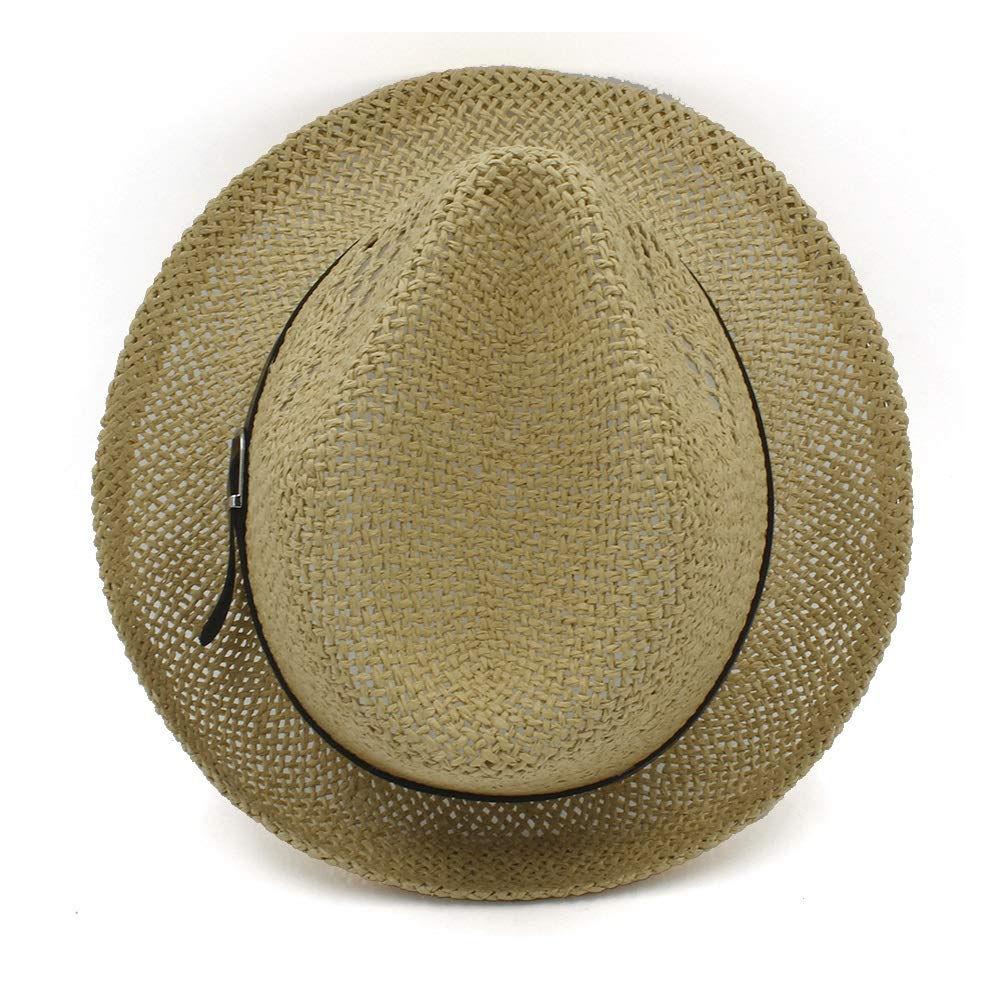 JIADUOBAOSEN Hipste Leather Sun Hat Summer Lady Panama Hat Mens Hat Beach Sun Hat Cool Jazz Hat Belt