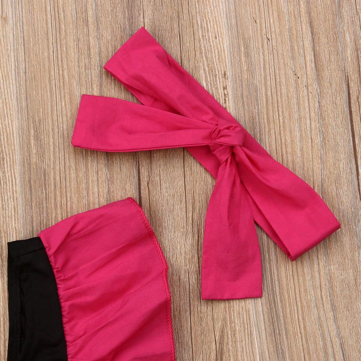 Headband 2Pcs Set Outfit Infant Baby Girl Ruffle Swimsuit Swimwear One-Piece Bathing Suit Romper