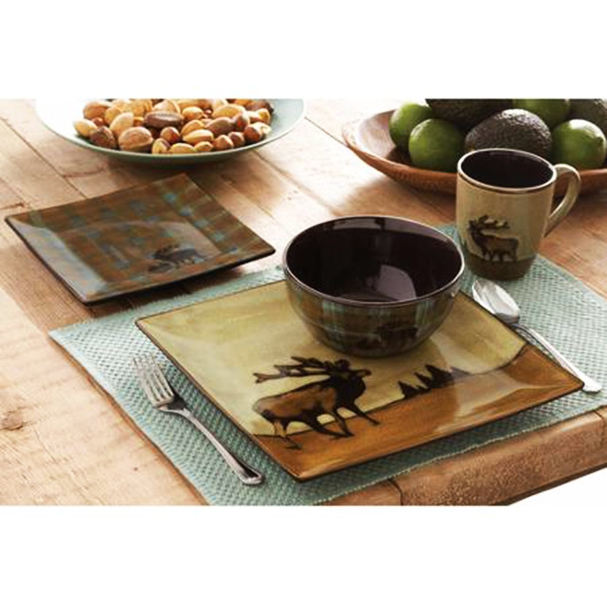 Amazon.com | 16 Piece Roaming Elk Stoneware Dinnerware Set W/ Mugs, Plates  U0026 Bowls. PERFECT FOR ANY CABIN ON SALE NOW: Accent Plates