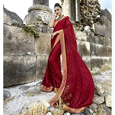 95f5c0976f Amazon.com: Triveni Printed Georgette Red Saree for Women with Unstitched  Blouse Contemporary  Indian Sari   Ethnic Party Wear: Clothing