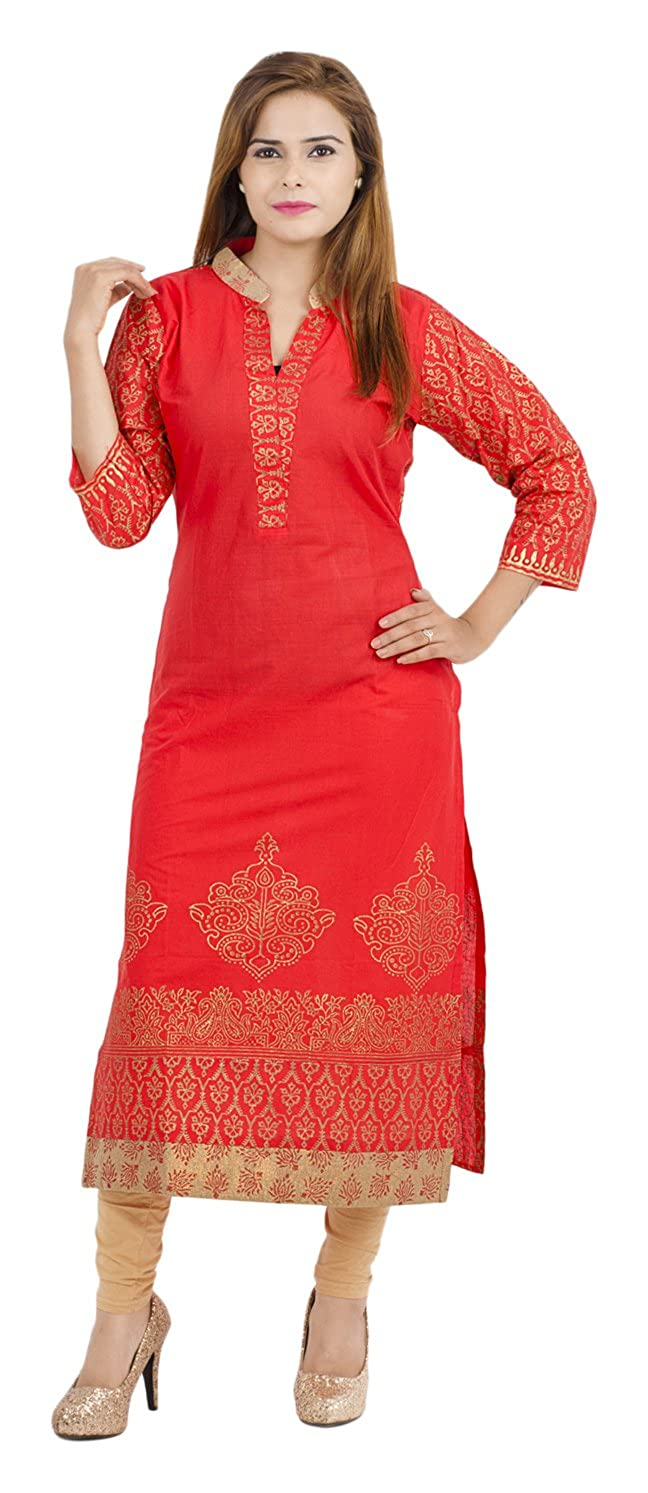 a5f7bd044 Zoeyams Women s Red Cotton Block Prints Long Straight kurti  Amazon.in   Clothing   Accessories