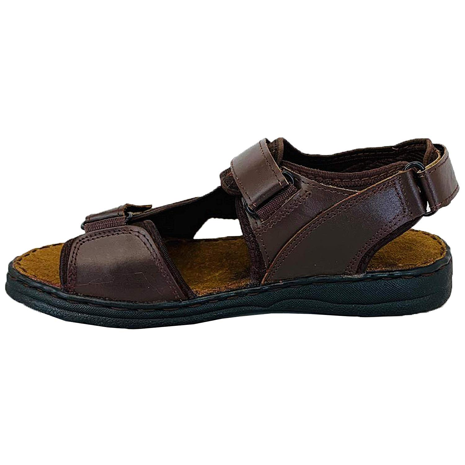 Mens Sandals Open Toe Strap Walking Beach Leather Look Shoes Summer Fashion New