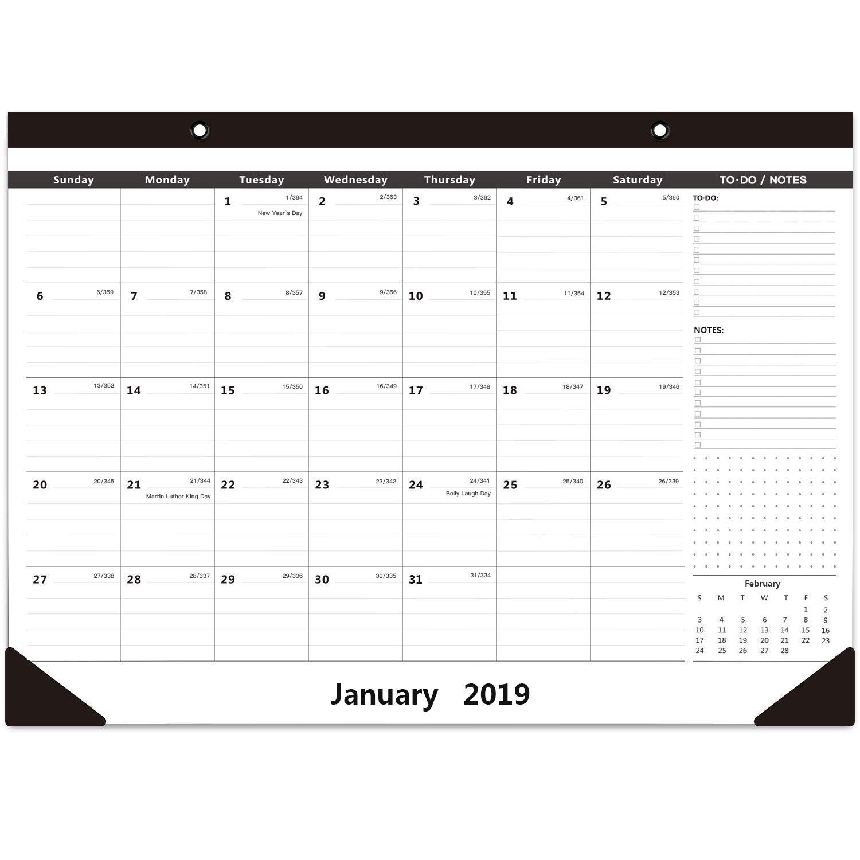 "2019 Monthly Desk Calendar Wall Calendar 16.5 X 11.5""- Classic with Notes Section January - December Black Calendar"