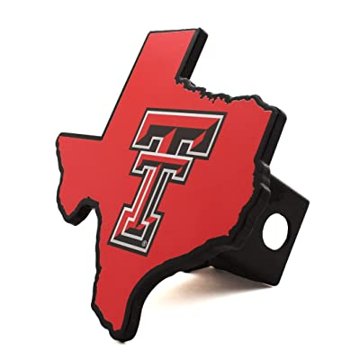 AMG NCAA Premium Solid Metal Heavy Duty Hitch Cover - Texas Shaped (Red Raiders): Automotive