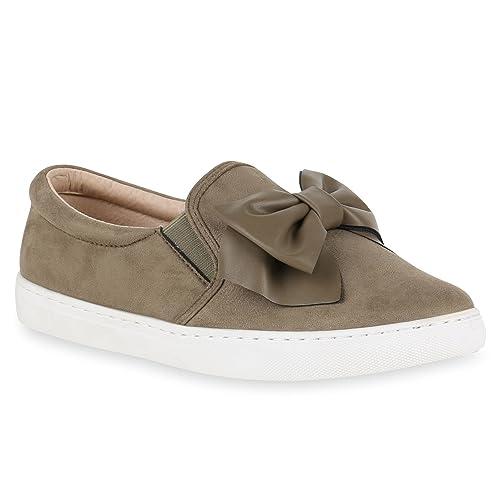 68cd85a651b55e Stiefelparadies Bequeme Damen Slipper Sneaker Slip-Ons Leder-Optik Metallic  Schleifen Flats Denim Velours
