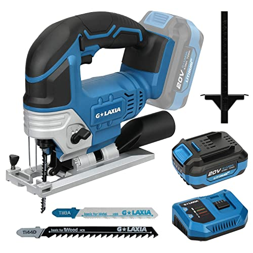 Cordless Jigsaw, GALAXIA DC-20V Max 4.0Ah Lithium Ion 2300SPM Jig Saw tool with Battery, Charger and 2Pcs T-Shank Blades for Wood Soft Metal PVC Cutting