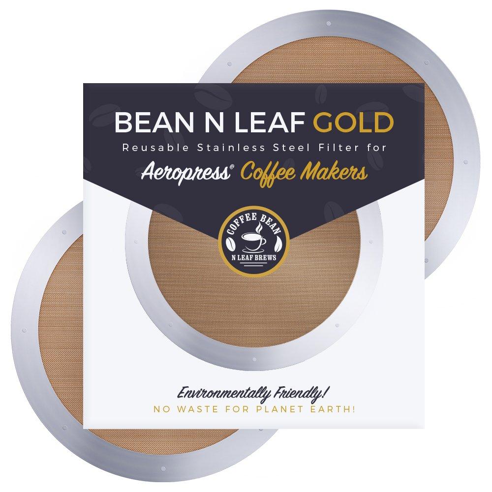 Aeropressコーヒーメーカー用プレミアム再利用可能フィルター2枚 Aerobie Aeropress コーヒーメーカーモデル用 耐久性のあるステンレススチールと簡単に洗える金属。 Coffee Bean n Leaf Brews ゴールド2パック   B07M5BCHJH
