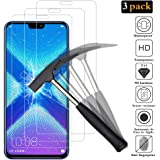 ANEWSIR Screen Protector for Huawei Honor 8X, Honor 8X Screen Protector Glass, Tempered Glass [3 Pack] [2.5D Round Edge] [9H Hardness] [Bubble Free] Protective Film for Huawei Honor 8X.