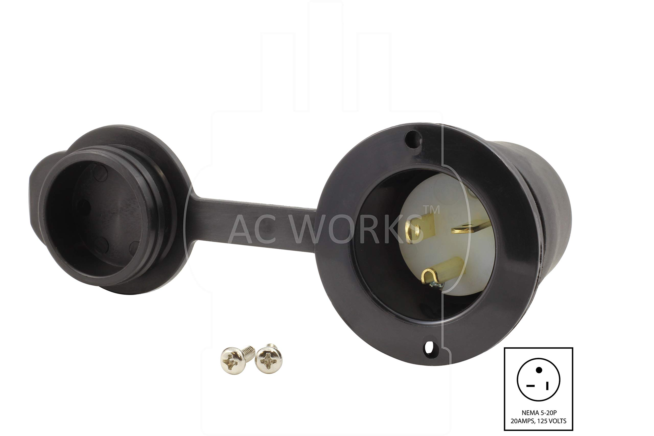 AC WORKS [ASIN520P-WC 20-Amp 125-Volt NEMA 5-20P Flanged Power Input Inlet with Weather Cover by AC WORKS (Image #2)