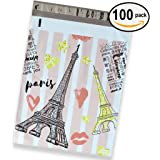 100 Pack of Mighty Gadget (R) Thank You Eiffel Tower Designer Poly Mailers - 10x13 inch Shipping Envelopes with 2.35 mil Thickness
