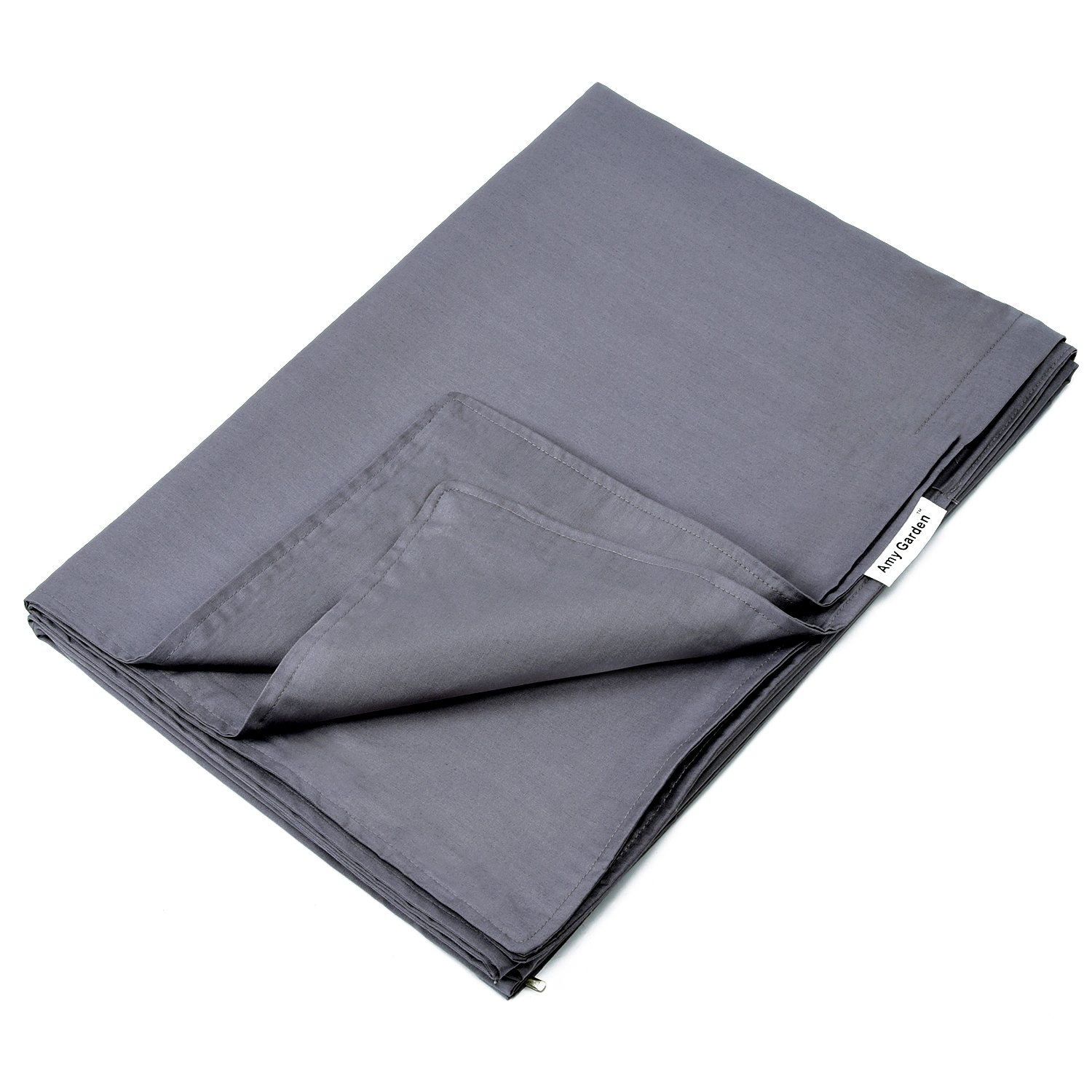 Amy Garden Premium Duvet Covers Cotton Removable Cover for Weighted Blanket Inner Layer,Grey - 48''x72'' (DUVET COVER ONLY)