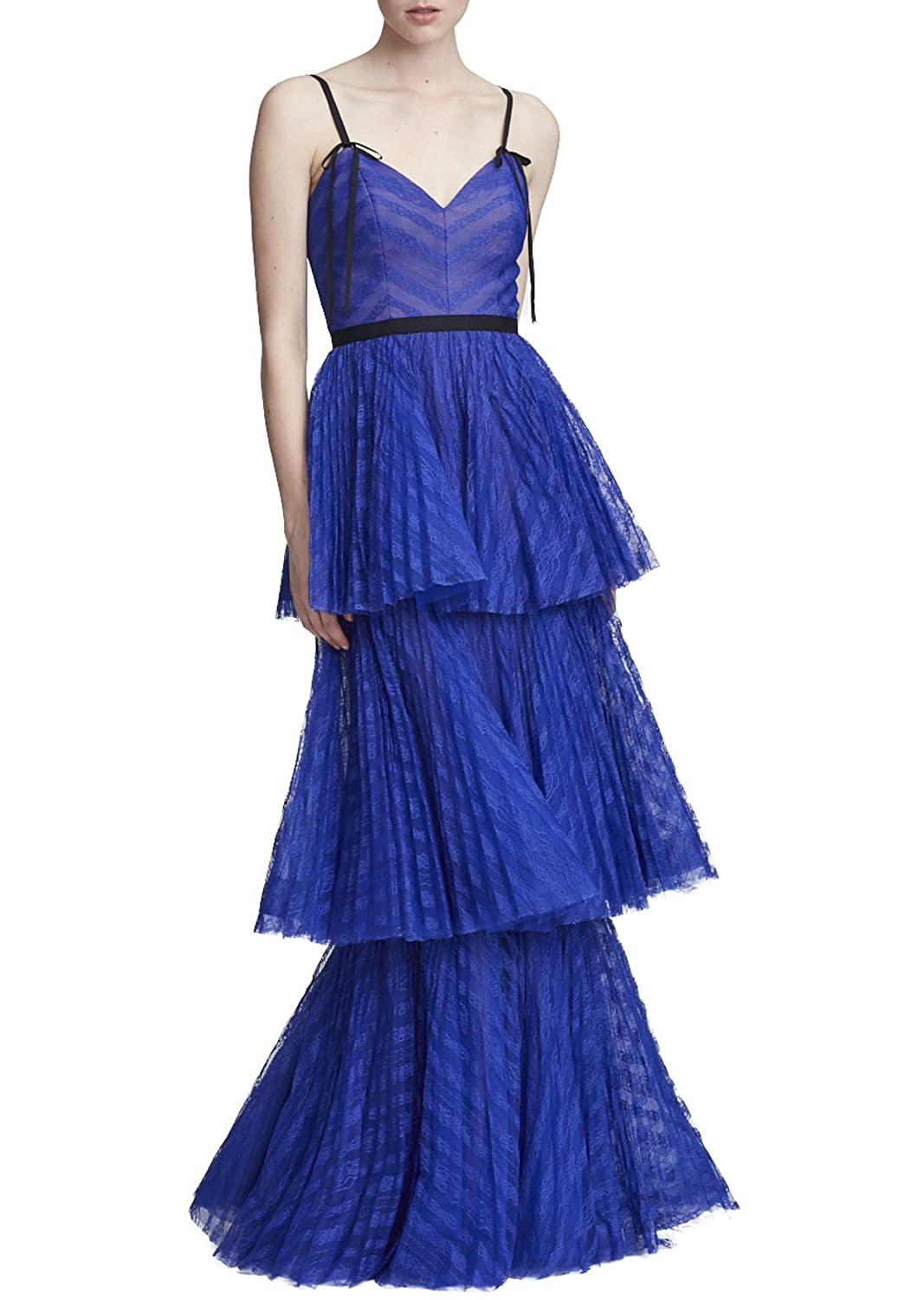Marchesa Notte Womens Sleeveless Striped Lace Tiered Gown 8