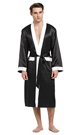 c5a6bf314bbb0 LilySilk Mens Silk Robes 100 Pure Mulberry Long Japanese Kimono Style  Sleepwear Luxury Contrast Color Loungewear