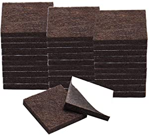 "uxcell 32pcs Furniture Pads Square 1 1/4"" Self-stick Anti-scratch Felt Pads Reduce Noise for Chair Feet Floor Protector Brown"