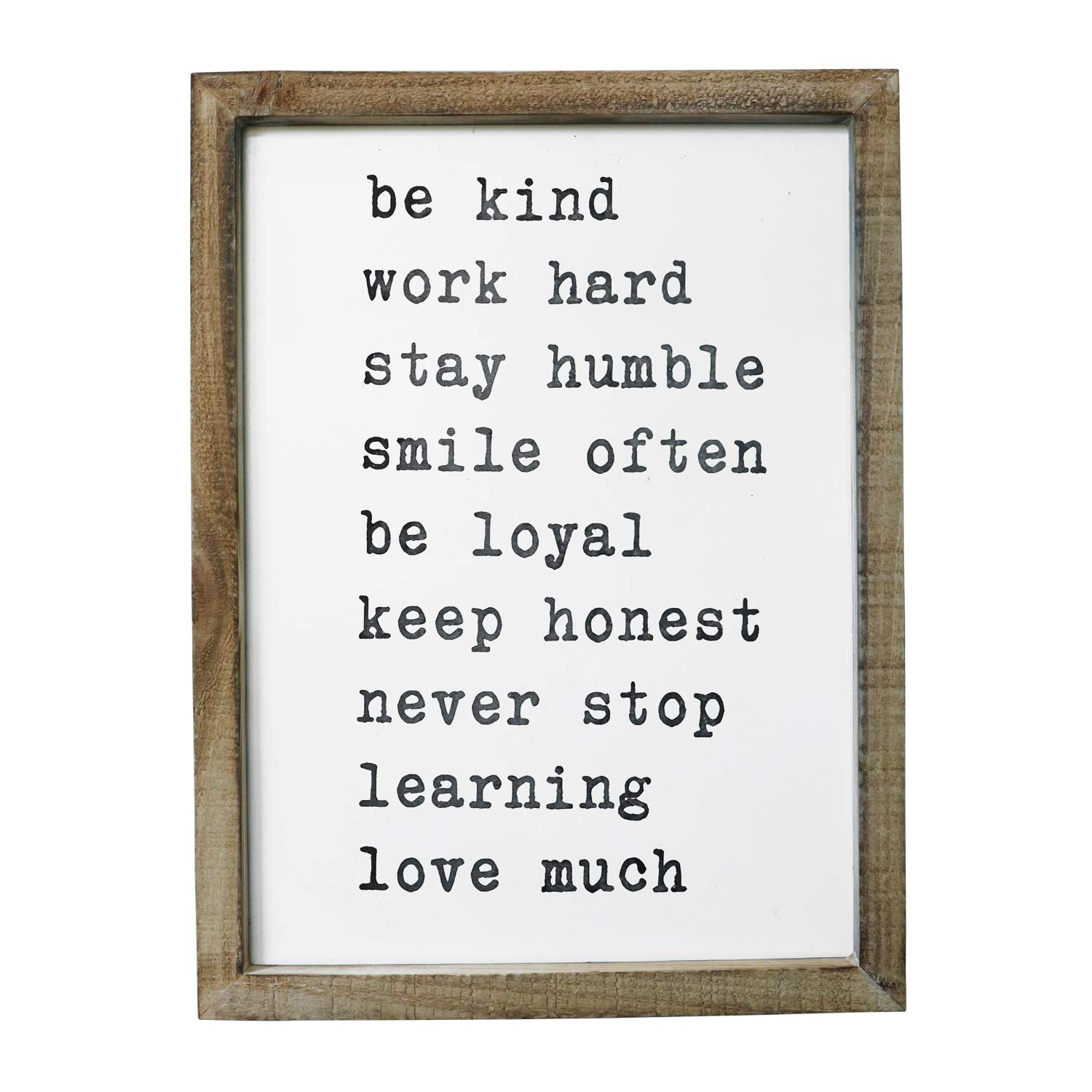 Sany Dayo Home Wall Decor Signs With Inspirational Sayings 16 X 12 Inches Rustic Wood Framed Modern Farmhouse Wall Hanging Art   Be Kind, Stay Humble, Never Stop by Sany Dayo Home