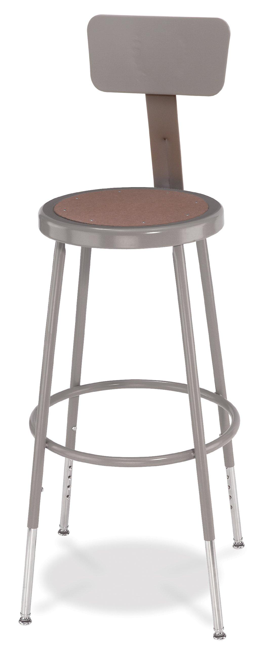 NPS 24'' Adjustable Height Steel Stool with Backrest, Grey