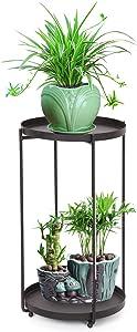 Metal Plant Stands Indoor, 2 Tier Tall Corner Plant Stand Holder, Standing Plant Flower Pot Rack Display Shelf for Garden Office Indoor Outdoor Black for Outdoor Garden (Black, 18.11'' Tall)