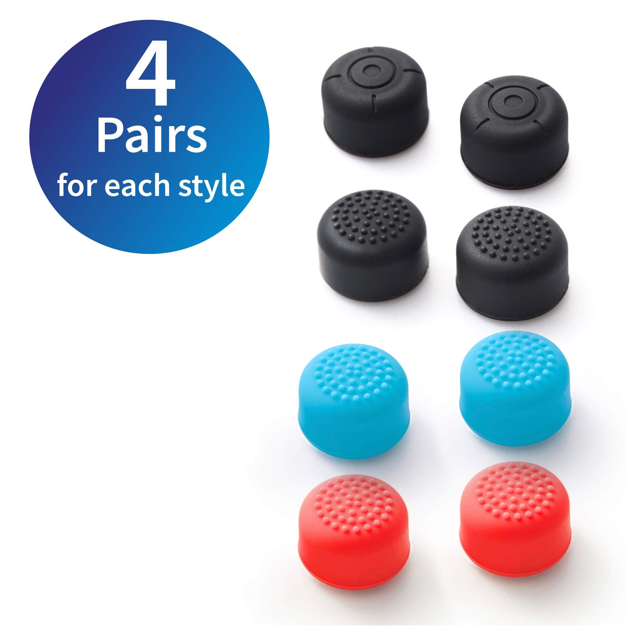 16 Pairs Joy Con Thumb Grips for Switch, Insten 32pcs (16-Pair) Soft Silicone Precision Raised ThumbStick Joystick Analog Stick Caps Set Compatible with Nintendo Switch Joy-con Controller Button by INSTEN