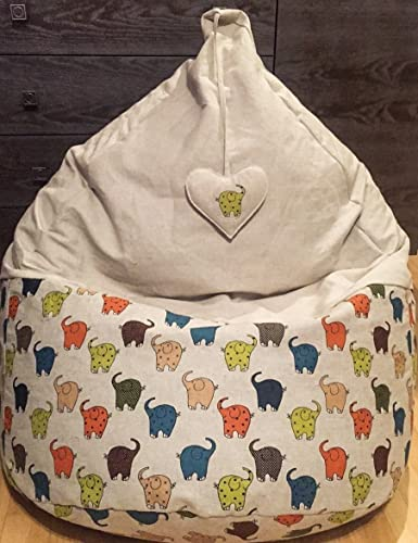 Bean Bag Chair Natural Linen Cover With Heart Love Gift Elephant Beanbag For Kids Colorful Adults