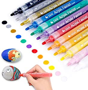 Acrylic Paint Marker Pens, Morfone Set of 12 Colors Markers Water Based Paint Pen for Rock Painting, Canvas, Photo Album, DIY Craft, School Project, Glass, Ceramic, Wood, Metal (Medium Tip)