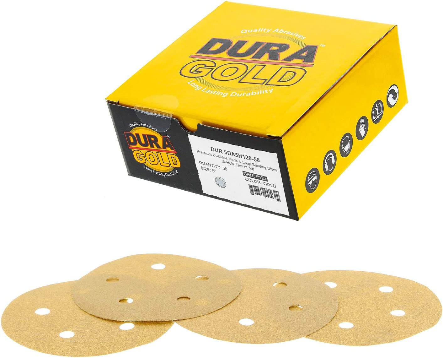 """Dura-Gold - Premium - 120 Grit - 5"""" Gold Sanding Discs - 5-Hole Dustless Hook and Loop for DA Sander - Box of 50 Finishing Sandpaper Discs for Woodworking or Automotive"""