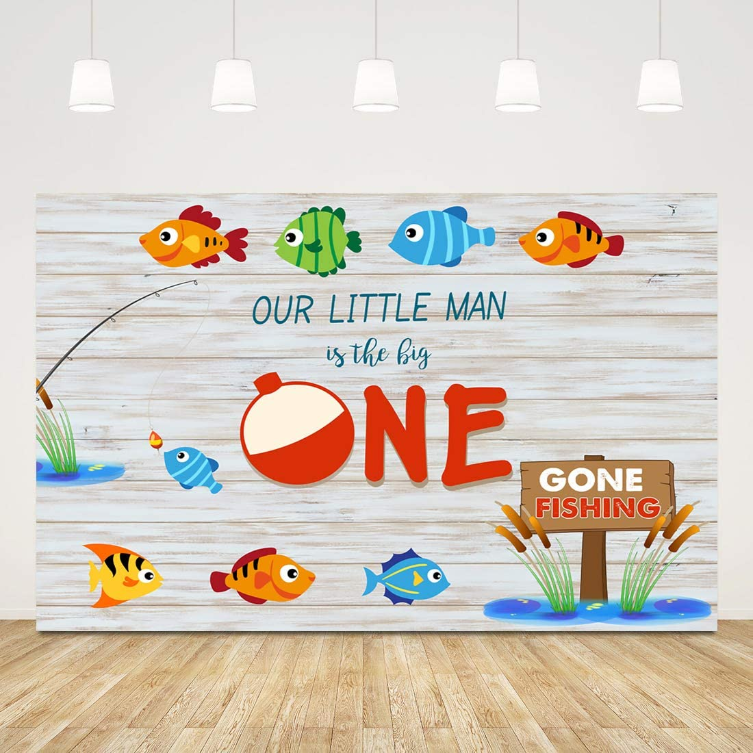 Mocsicka Gone Fishing 1st Birthday Backdrop Little Man Fishing Birthday Photography Background 7x5ft Fishing Party Photo Booth Backdrops