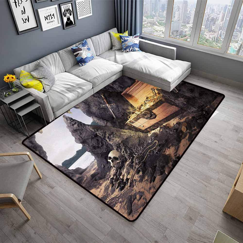Fantasy,Soft Area Children Baby Playmats 48''x 72'' Open Treasure Chest with Golds and Sword in Cave Pirate Fairy Illustration All Weather mats Charcoal Grey Amber by ParadiseDecor