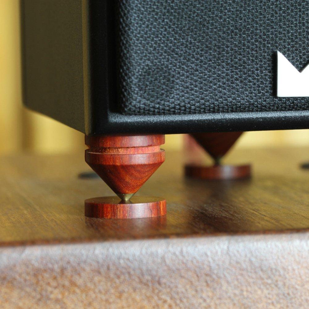 0,9 en × 0,8 en 4 paquetes de madera con base de cobre puro para patas HIFI altavoz Spikes conjunto caja de altavoz pies Base soporte para ...