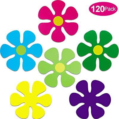 120 Pieces Mini Retro Flower Cutouts Flower Shaped Cutouts for Hippie Party Home Wall Art and Craft Decoration: Toys & Games