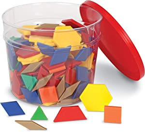 Learning Resources Plastic Pattern Blocks, Shape Recognition, Early Math Skills, Set of 250, Ages 4+