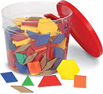 Learning Resources Plastic Pattern Blocks, Math Games for Kindergarten, Homeschool, Shape Recognition, Early Math Skills, Set of 250, Ages 4+