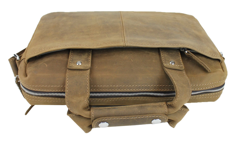 Vagabond Traveler 15'' Classic Fine Leather Messenger Bag Daily Bag L29. Distress by Vagabond Traveler (Image #2)