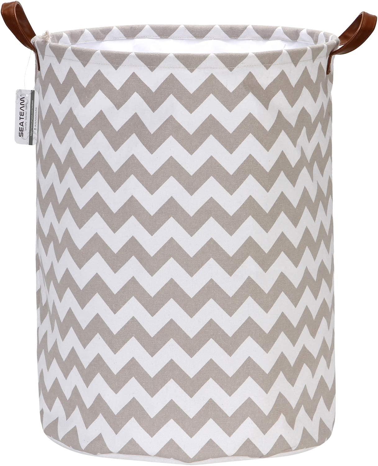 Sea Team Chevron Pattern Laundry Hamper Canvas Fabric Laundry Basket Collapsible Storage Bin with PU Leather Handles and Drawstring Closure, 19.7 by 15.7 inches, Waterproof Inner, Grey