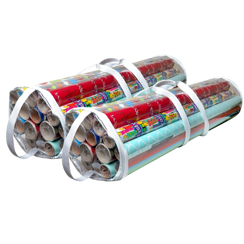 Evelots Clear Gift Wrap Organizers with Handles for up to 50 Rolls- Set of 2