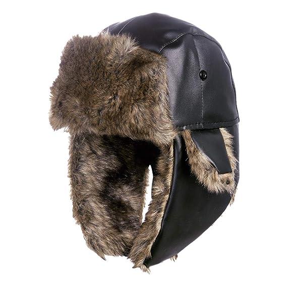 2d60210deed DYAPP Men s Warm Ski Trapper Hat Ear Flaps Outdoors PU Trooper Hunting Hats